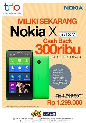 Global Teleshop Promo Nokia X Cashback Rp300 Ribu