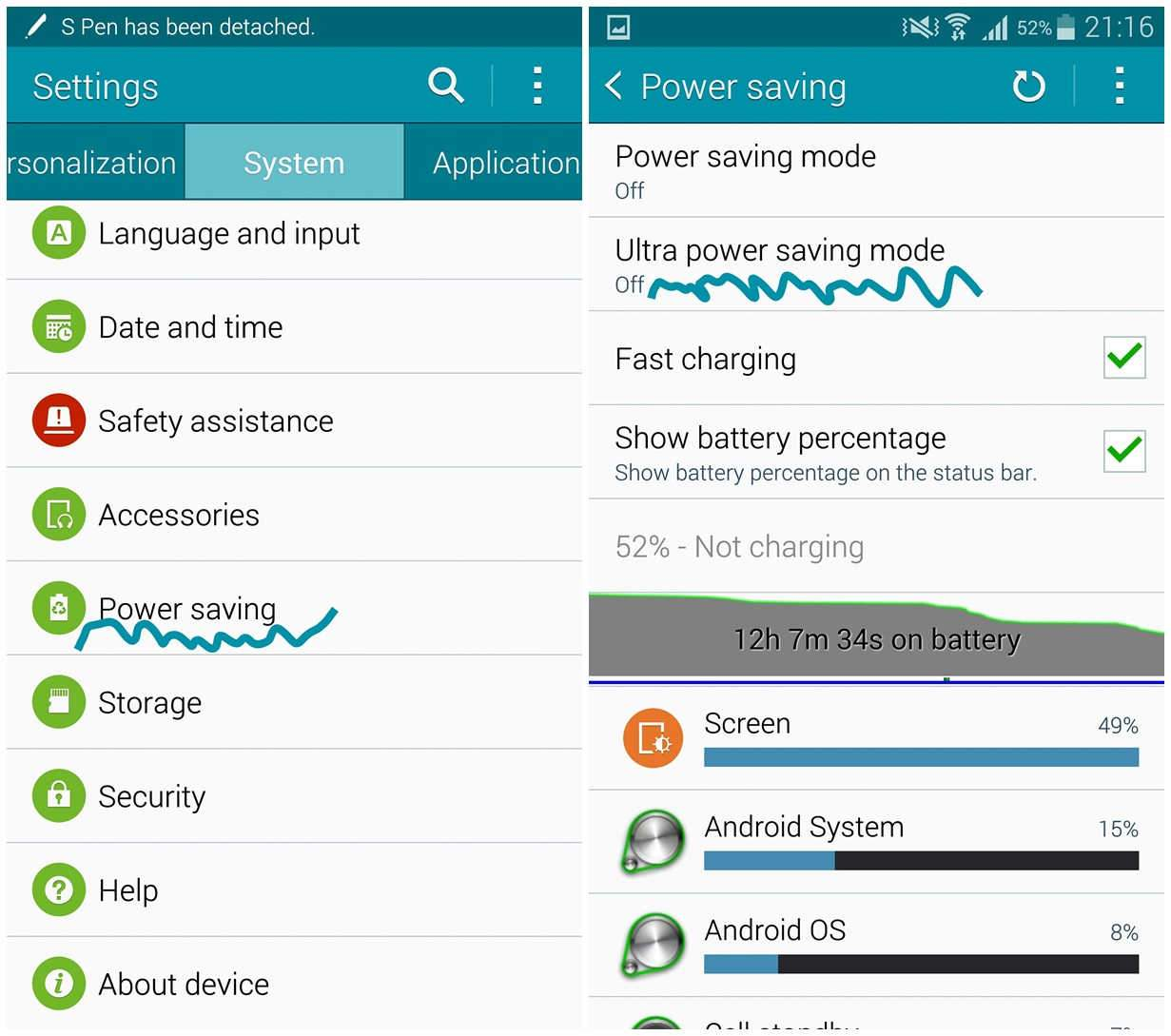 power savng note 4