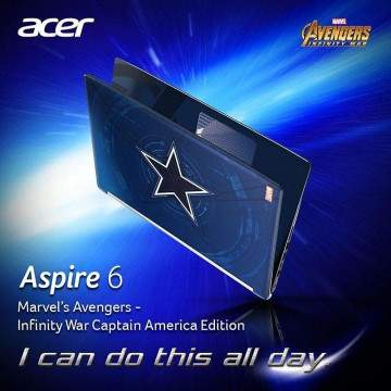 Acer Rilis Aspire 6 Captain America Edition dengan Intel core i5.