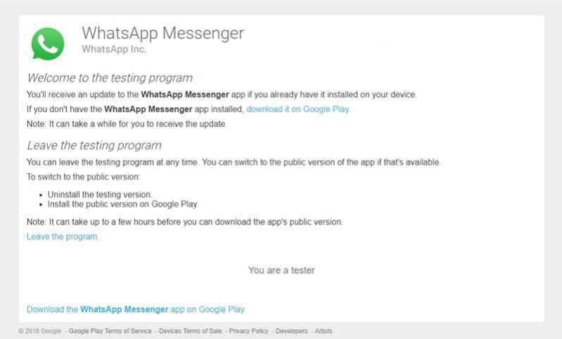whatsapp beta testing