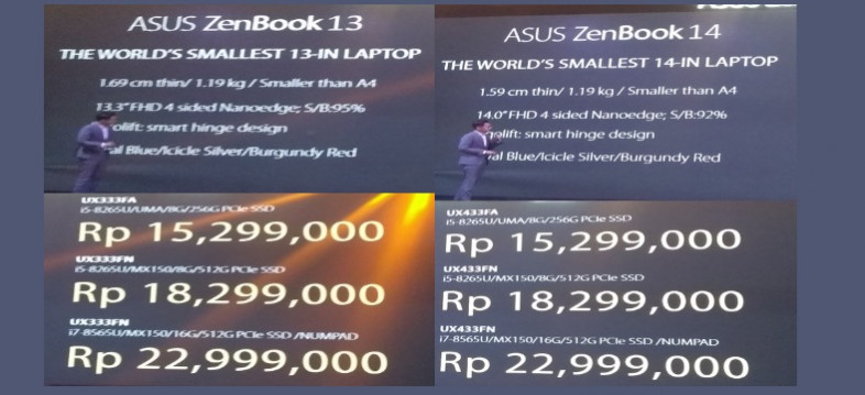 harga asus zenbook 13,14