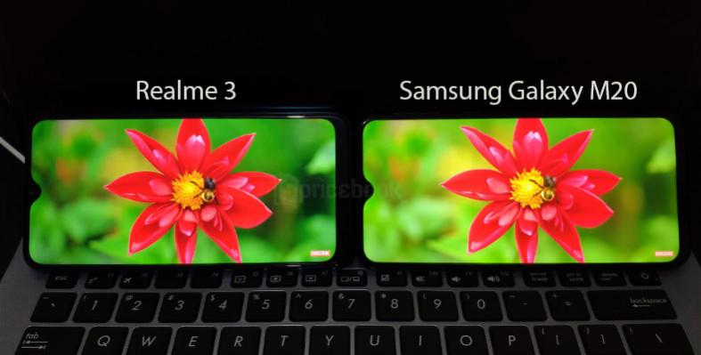 Layar Realme 3 vs Samsung Galaxy M20