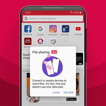 Berbagi File Tanpa Koneksi Internet dari Opera Mini