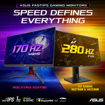 Tiga Monitor Gaming Terbaru ASUS, Refresh Rate Hingga 280Hz