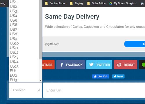 memilih server yang ada di sebelah kiri lalu masukkan URL situs yang diblokir