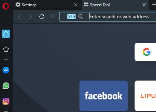 buka tab baru nanti akan muncul tulisan VPN disamping bar pencarian URL