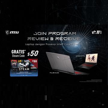 Pre Order Laptop Gaming Terbaru MSI Dapat Steam Wallet Code Gratis