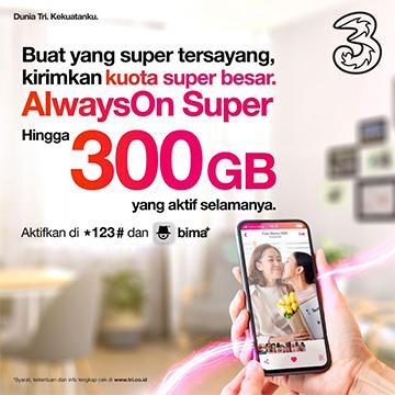 Harga Paket Internet AlwaysOn Super 3, Sampai 300GB!