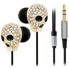 Earphone Crystal Decorated Skull Pattern