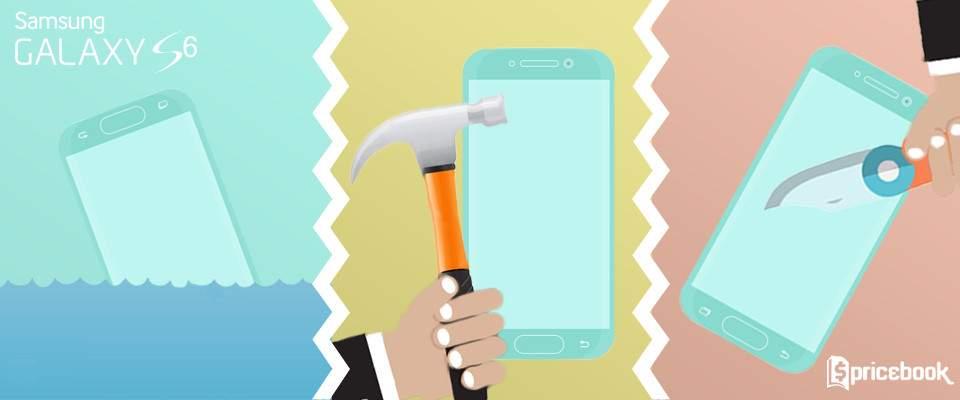 Bagaimana Nasib Samsung Galaxy S6 Usai Direndam Air, Digoreskan Kunci dan Dipukul Palu?