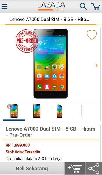 Harga Lenovo A7000 di Lazada, Smartphone Pertama dengan