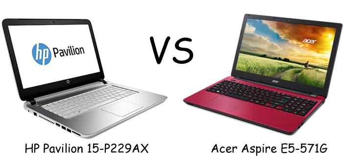 Adu Spesifikasi Acer Aspire E5-571G-537K vs HP Pavilion 15-P229AX