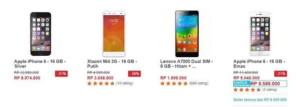 Daftar Harga Handphone Murah di Promo Ramadan Ceria Lazada