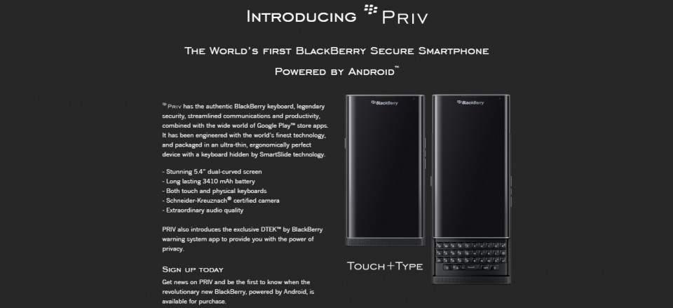 BlackBerry Rilis Situs Pre-Registrasi untuk BlackBerry Priv