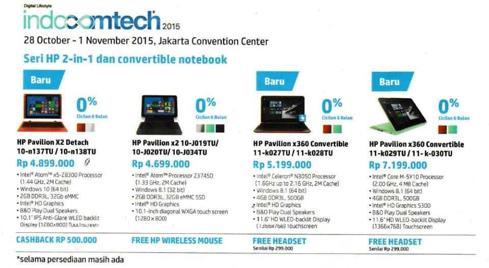Promo Laptop dan PC Windows 10 HP INDOCOMTECH 2015