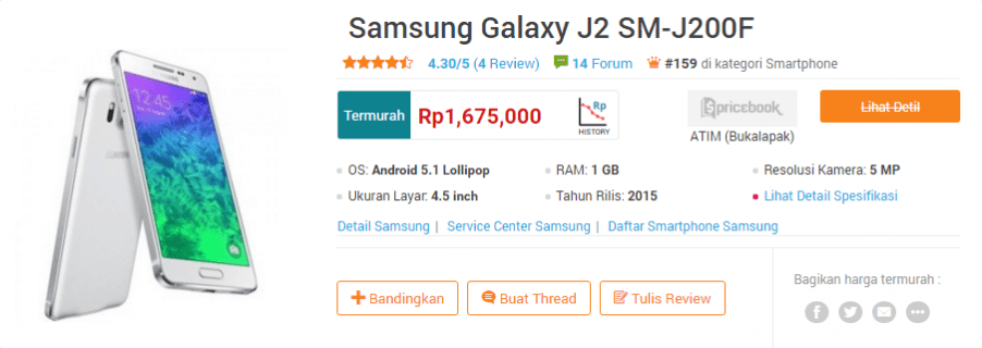 Galaxy J2 Turun Harga