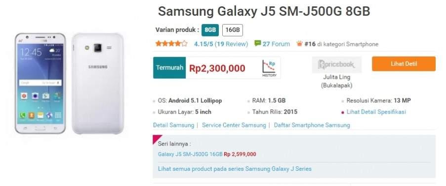Galaxy J5 Turun Harga
