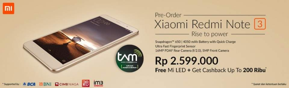 Pre Order Xiaomi Redmi Note 3 di Indonesia Cellular Show (ICS)