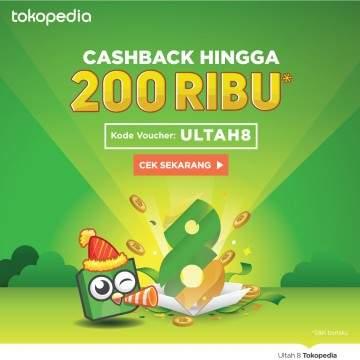Cuma 3 Hari, Dapatkan Cashback Hingga 200 Ribu ke TOKOCASHdi Tokopedia