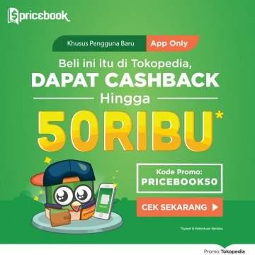 Promo Tokopedia dan Pricebook, Belanja Apapun Dapat Cashback 50%!