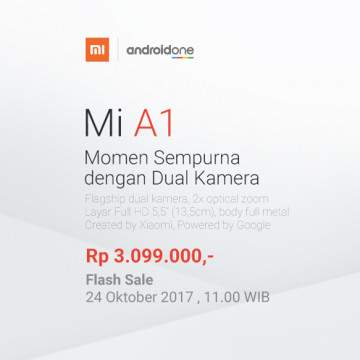 Jangan Lewatkan Flash Sale Xiaomi Mi A1 Android One di Lazada 23 November!