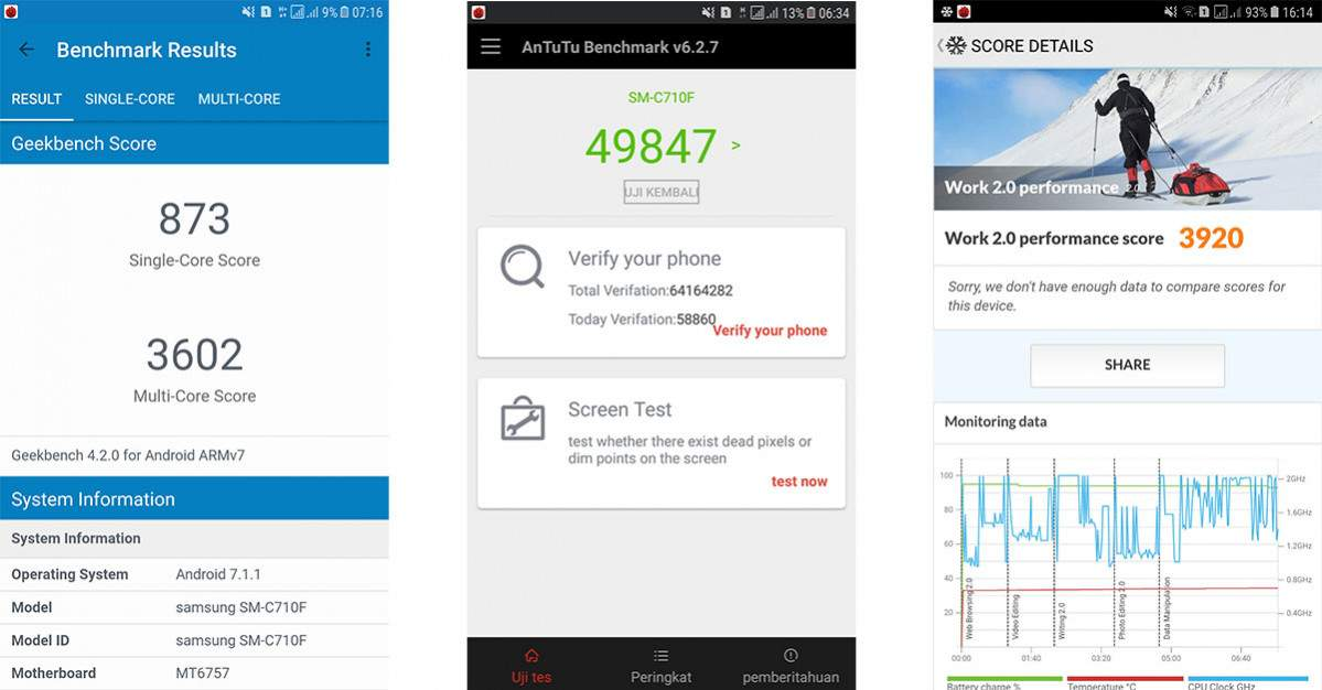 Samsung J7+ benchmark