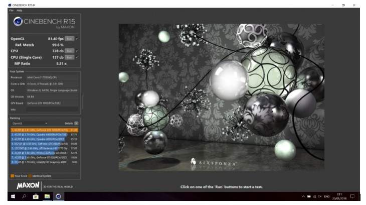 Asus vivobook pro n580 Cinebench