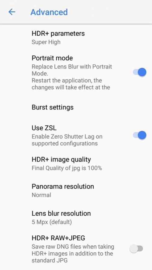 seting google camera