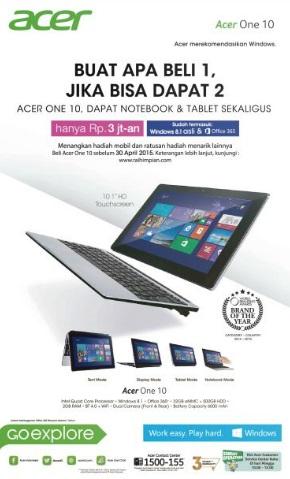 Dapatkan Acer One 10 hanya dengan membayar Rp 3 jutaan, dan lo bakal ...