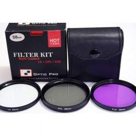 Filter Lensa Kamera OpticPro Kit 58mm (UV+CPL+FLD)