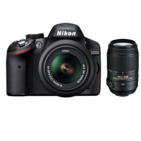 DSLR Nikon D3200 kit 18-55mm + 55-300mm